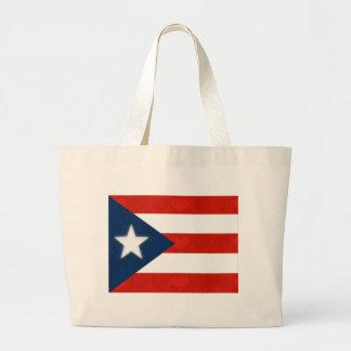赤くストライプのなハートのプエルトリコの旗 ラージトートバッグ