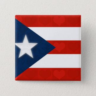 赤くストライプのなハートのプエルトリコの旗 5.1CM 正方形バッジ