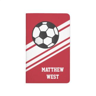 赤くスポーティなストライプの名前入りなサッカージャーナル ポケットジャーナル
