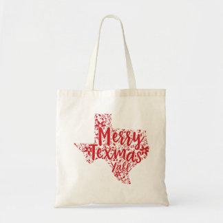赤くメリーなTexmasテキサス州のクリスマスのトートバック トートバッグ