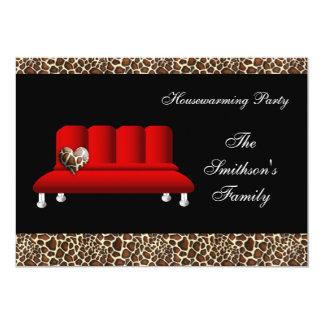 赤くモダンなソファーの引っ越し祝いパーティーのパーティの招待状 カード