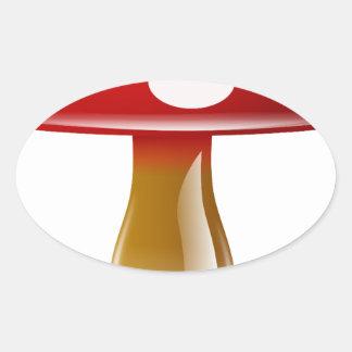 赤くユニークなきのこ 楕円形シール