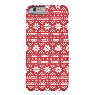 赤く公平な島のクリスマスのセーターパターン BARELY THERE iPhone 6 ケース