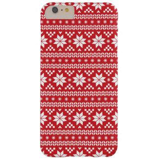 赤く公平な島のクリスマスのセーターパターン BARELY THERE iPhone 6 PLUS ケース
