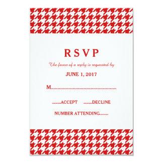 赤く千鳥格子のな結婚式の応答カード カード