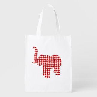 赤く千鳥格子のな象 エコバッグ