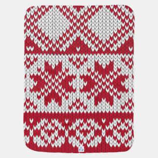 赤く及び白いの編まれたクリスマスパターン ベビー ブランケット