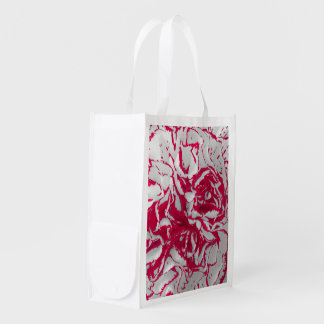 赤く及び白いカーネーションの写真のイメージのエコバッグ エコバッグ