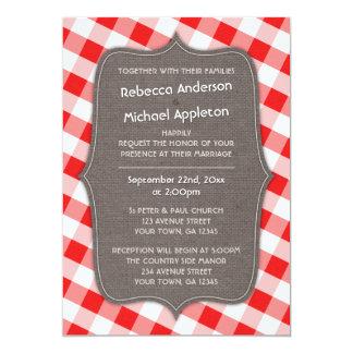 赤く及び白いギンガムのキャンバスの結婚式招待状 カード