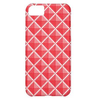 赤く及び白いギンガムは好みます iPhone5Cケース