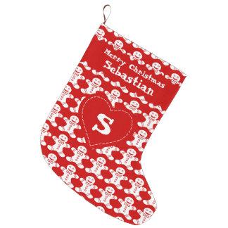 赤く及び白いジンジャーブレッドパターン ラージクリスマスストッキング