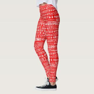 赤く及び白いメリークリスマスのタイポグラフィパターン レギンス