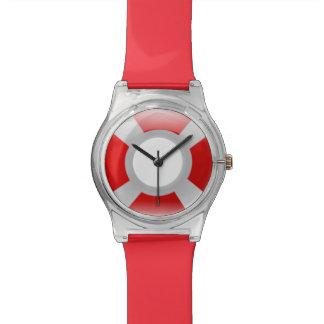 赤く及び白いライフセーバーの安全リングの調節可能な腕時計 腕時計