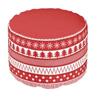 赤く及び白い休日ポリエステルラウンドパフ プーフ