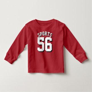 赤く及び白い幼児|のスポーツのフットボールジャージー トドラーTシャツ