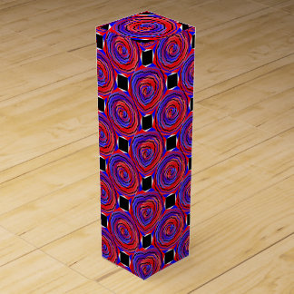 赤く及び青の反対の螺線形 ワインギフトボックス