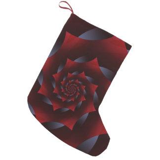 赤く及び青の暗い螺線形のフラクタルのクリスマスのストッキング スモールクリスマスストッキング