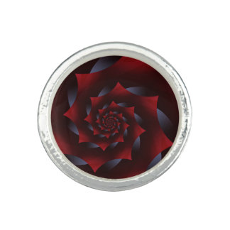赤く及び青の暗い螺線形のフラクタルのリング 指輪