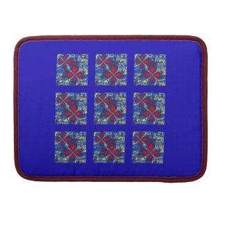 赤く及び青の流動フラクタルはMacbookの袖を平方します MacBook Proスリーブ