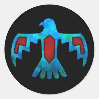 赤く及び青の雷鳥のステッカー ラウンドシール