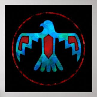 赤く及び青の雷鳥ポスター ポスター