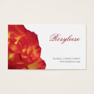 赤く及び黄色バラ-花屋/花のコンサルタント 名刺