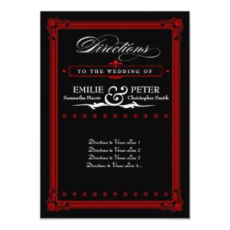 赤く及び黒いポスタースタイルの方向カード カード
