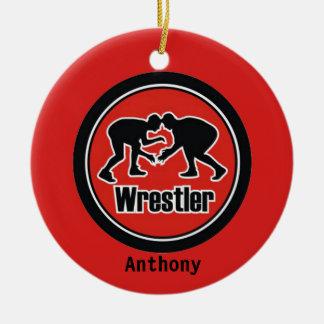 赤く及び黒いレスリング選手のクリスマスのオーナメント セラミックオーナメント