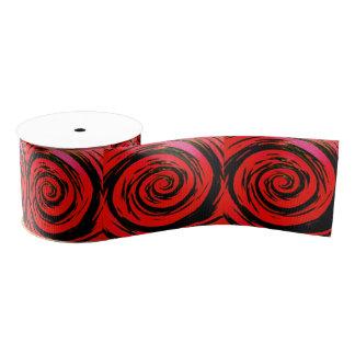 赤く及び黒い催眠性の渦巻の芸術 グログランリボン