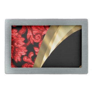 赤く及び黒い花のダマスク織 長方形ベルトバックル