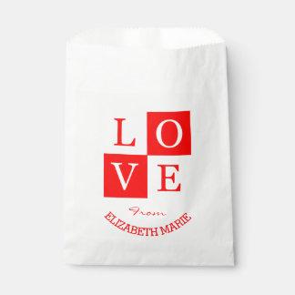 赤く名前入りなバレンタインの愛 フェイバーバッグ