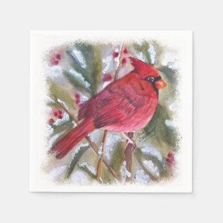 赤く基本的なクリスマスのナプキン スタンダードカクテルナプキン