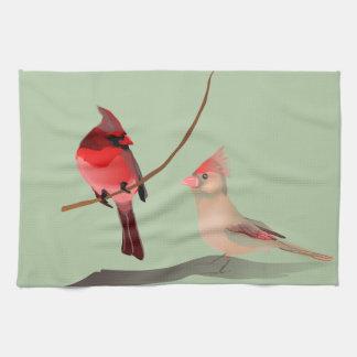赤く基本的な冬の鳥 キッチンタオル