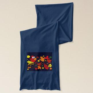 赤く基本的な鳥および紅葉の芸術の抽象芸術 スカーフ