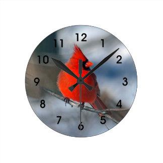 赤く基本的な鳥 ラウンド壁時計