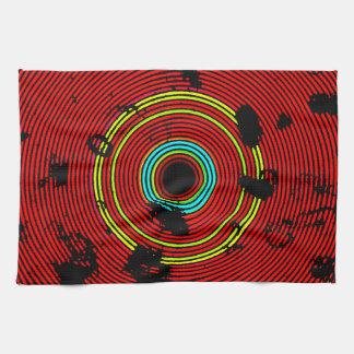 赤く多彩なビニールディスク質パターン キッチンタオル