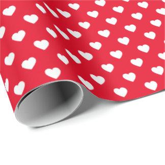 赤く小さいハートのパターン(の模様が)あるな包装紙の白 ラッピングペーパー
