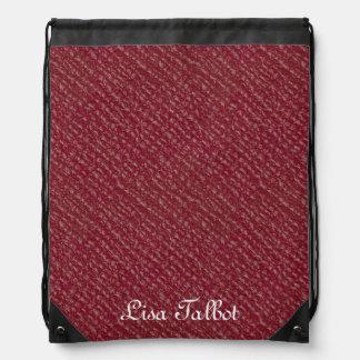赤く模造のな革バックパック ナップサック