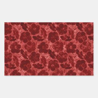 赤く汚い花柄 長方形シール