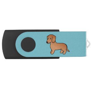 赤く滑らかなコートのダックスフントの漫画犬 USBフラッシュドライブ