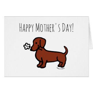 赤く滑らかなダックスフントの小さい花の母の日 グリーティングカード