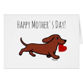 赤く滑らかなダックスフントの母の日 グリーティングカード