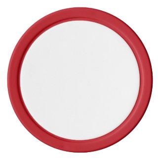 赤く無地のな端が付いているポーカー用のチップ ポーカーチップ
