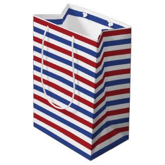 赤く白いおよび青い縞 ミディアムペーパーバッグ