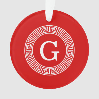赤く白いギリシャ人の鍵のRndフレームのイニシャルのモノグラム オーナメント