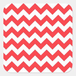 赤く白いシェブロン スクエアシール