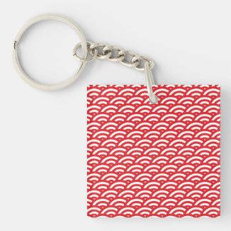 赤く白いスケールパターン キーホルダー