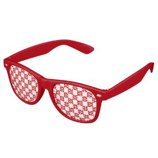赤く白いチェッカーボードパターン パーティサングラス
