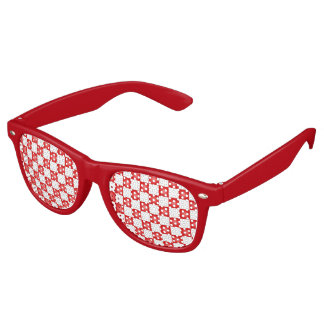 赤く白いチェッカーボードパターン レトロサングラス