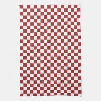 赤く白いチェック模様の正方形 キッチンタオル